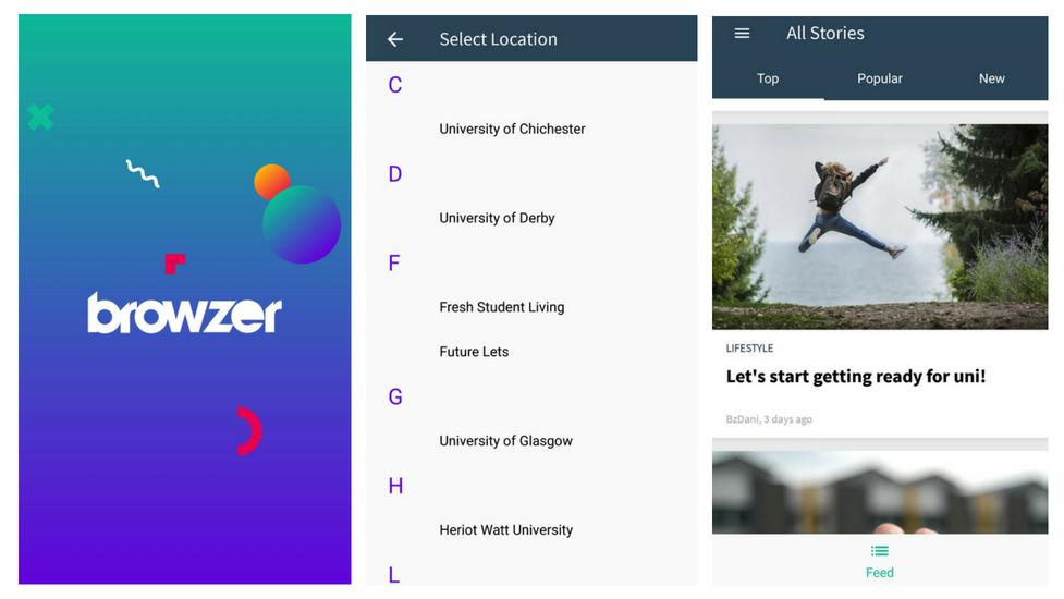 a screenshot of the browzer app