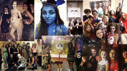 A collage students in different halls and halloween costumes