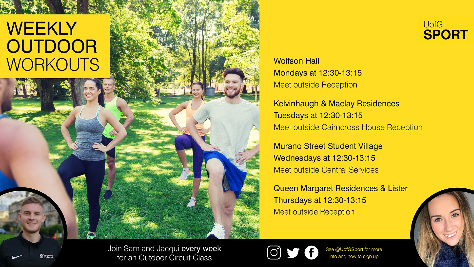 UofG Sport class timetable