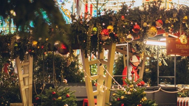 a traffic light sitting next to a christmas tree