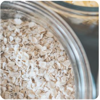 a close up of porridge oats in a bowl