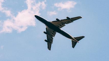 Plane through a blue sky