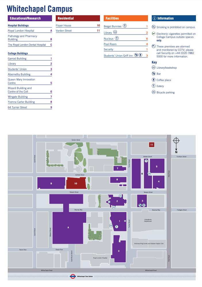Whitechapel Campus Map