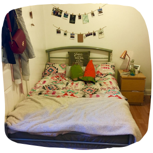 a bed in a room