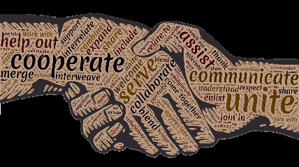 handshake with text covering hands