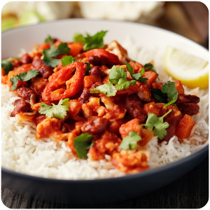 a plate of chilli and rice