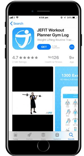 a screenshot of the Jefit app on a cell phone