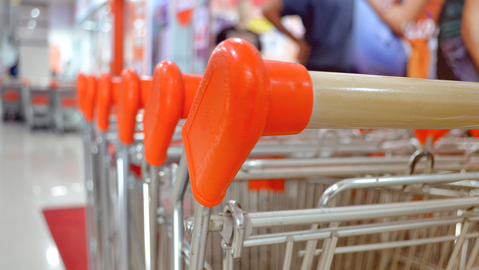 close up of shopping trollies