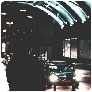 a person walking along a road