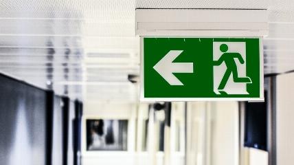 a fire escape sign