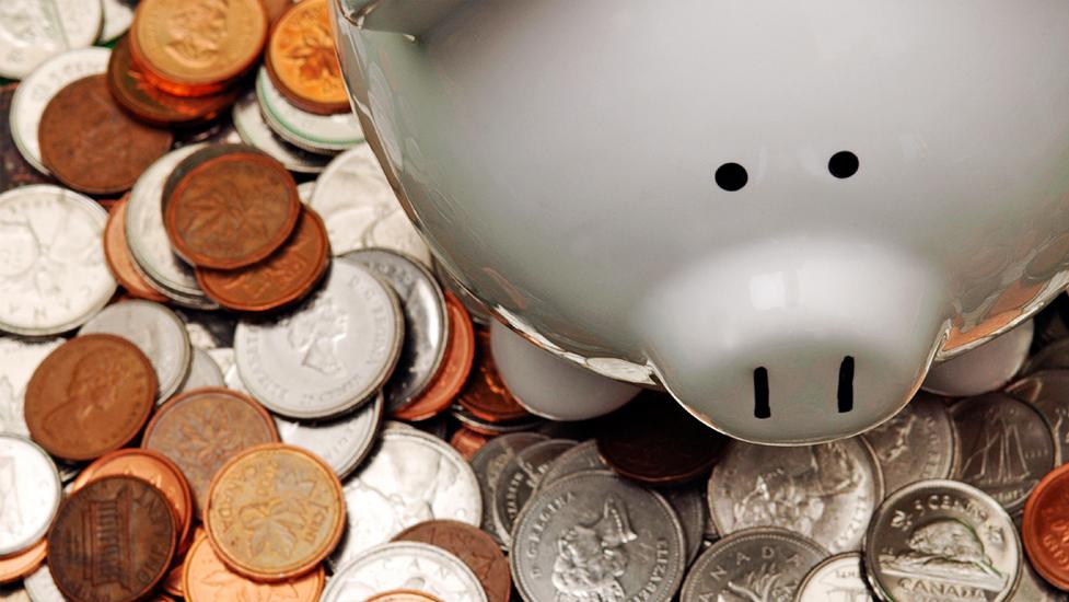 coins by a piggy bank