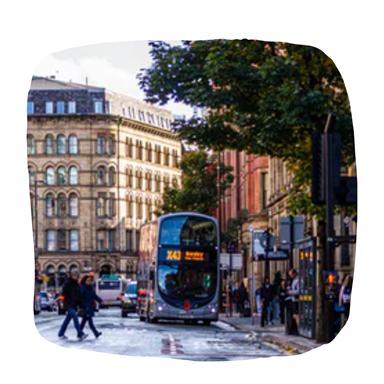 a double decker bus on a city street