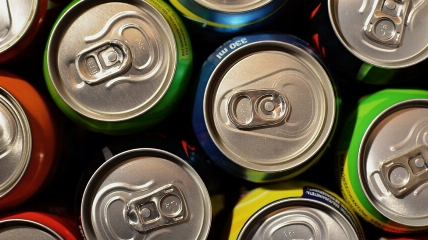 a close up of a can