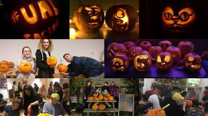 collage of UAL students carving pumpkins