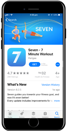 a screenshot of the Seven app on a cell phone