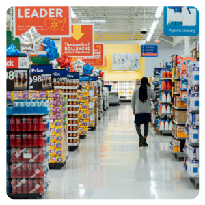 a person walking in a supermarket