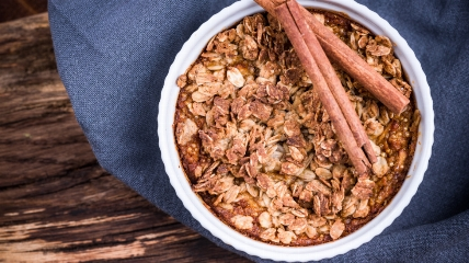 a bowl of baked oats